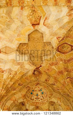 JERUSALEM ISRAEL - FEBRUARY 16 2016: The cupola of carved stone with medieval islamic patterns decorates the arcade of Bab al-Silsila on the Temple Mount on February 16 in Jerusalem.