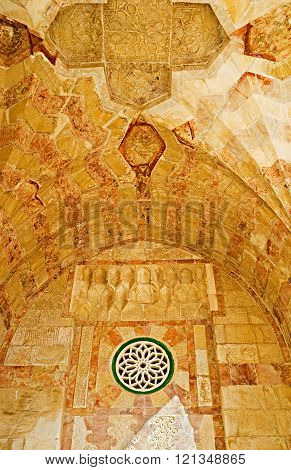 JERUSALEM ISRAEL - FEBRUARY 16 2016: The ceiling and walls of the arcades of Bab al-Silsila covered with the carved stone patterns on February 16 in Jerusalem.