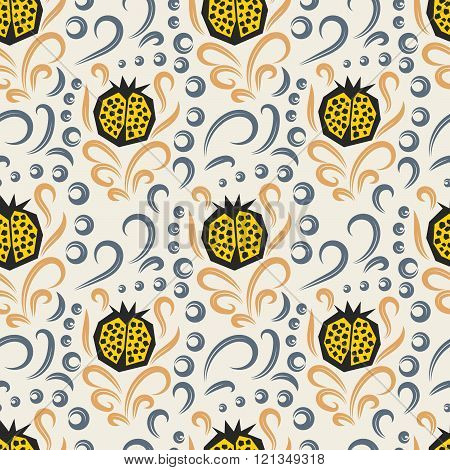 Pomegranate Pattern. Seamless Ornament.
