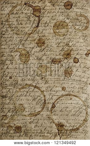 Grunge vintage paper texture background with undefined handwritten text and stains