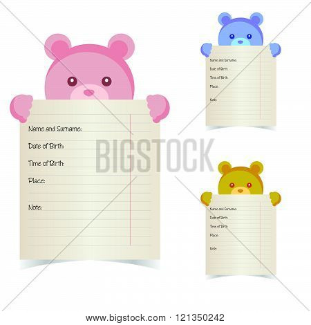 baby name paper with teddy illustration