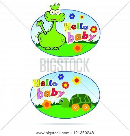 hello baby sticker illustration