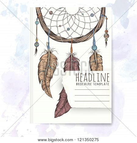 Notebook template with hand drawn dream catcher.