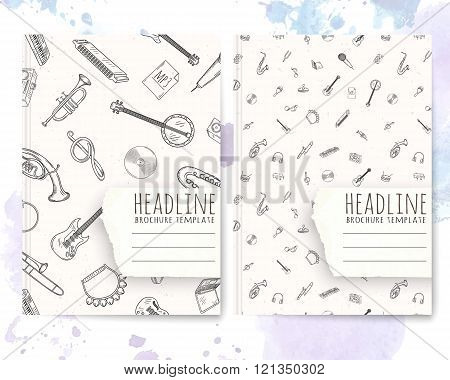 Notebook template with hand drawn music pattern.