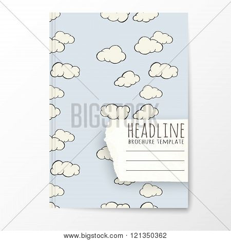 Notebook template with hand drawn cloud pattern.