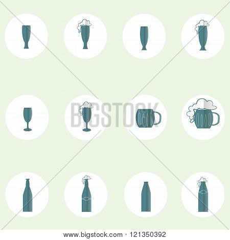 Beer and cider round icon, flat design. Blue icons glasses, cups, mugs, foam on white, light blue ba