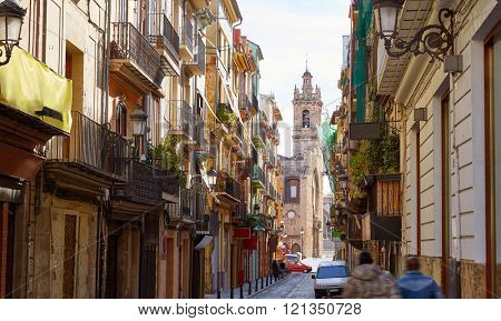 Valencia Bolseria street in Barrio del Carmen at Spain