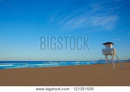 Gandia beach in Valencia of Mediterranean Spain baywatch tower