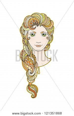 Beautiful girl with intricately patterned, zentangle braid and bright eyes. Vector portrait.