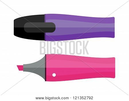 Colored marker highlighters vector isolated.