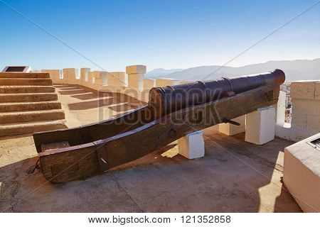 Cullera cannon in Torre de la Reina Mora tower at Valencia of Spain