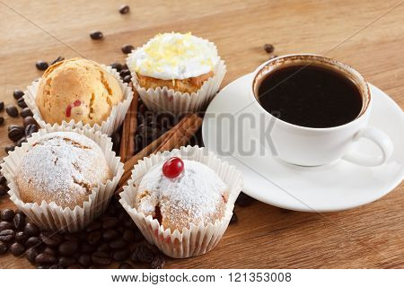Sweet Muffin And Coffee. Overhead View