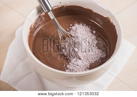 Mixing brownie's ingredients in the bowl, Batter in bowl