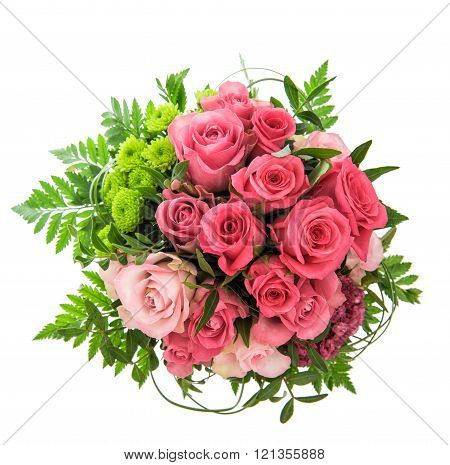 Pink Roses Isolated On White. Festive Flowers Arrangement