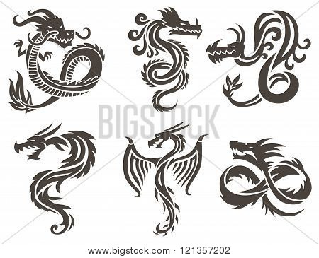 Chinese dragon on white background vector illustration.