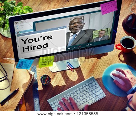 You're Hired Recruitment Employment Hiring Career Concept