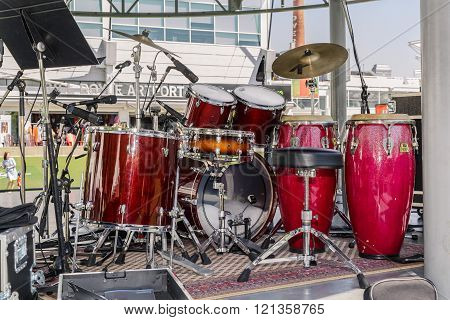 Toronto, Ontario, Canada, Aug. 15, 2015 beautiful amazing closeup detailed view of drum kit setup standing on concert outdoor stage in downtown