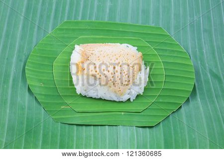 Sticky Rice With Steamed Custard On Banana Leaves, Sweet Sticky Rice, Thai Sweet Dessert, Original T