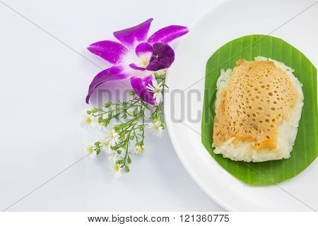 Sticky Rice With Steamed Custard On Banana Leaves And Dish With Orchid Flower, Sweet Sticky Rice, Th