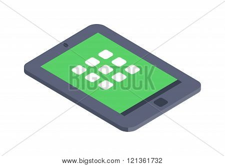 Isometric tablet infographic icon vector illustration flat design.