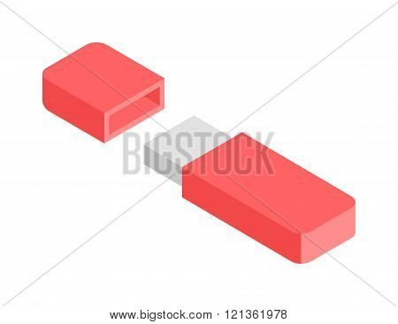 Flash Drive flat 3d isometric graphic vector.