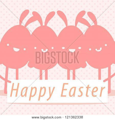 Happy Easter. Happy Easter Typographical With Bunny on Polka dot background. All in a single layer. EPS 10 vector illustration for design.