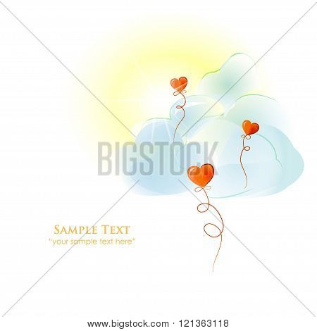 Love red balloons against sun and blue clouds. Watercolor. Vecto