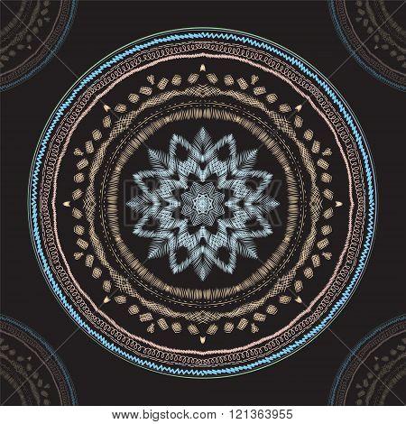Chalkboard Hand Drawn Mandala. Vintage Round Ornament Pattern. Islamic, Arabic, Indian, Ottoman Moti