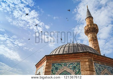 Doves Fly Over Ancient Camii Mosque, Izmir