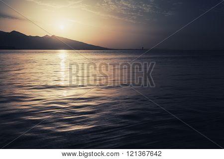 Dramatic Colorful Seascape. Sea, Sun And Sky