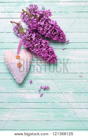 Fresh Lilac Flowers And Textile Decorative Heart  On Turquoise Painted Wooden Planks.