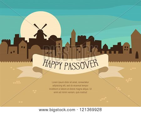 Happy Passover greeting card design with Jerusalem city skyline. Vector illustration