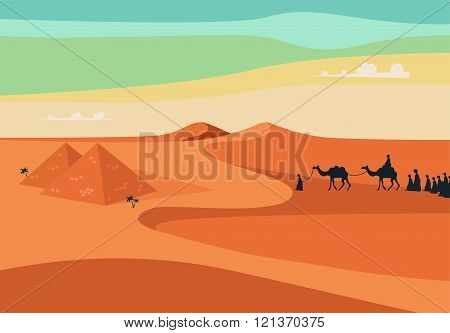 Group of People with Camels Caravan Riding in Realistic Wide Desert Sands in Egypt. Editable Vector