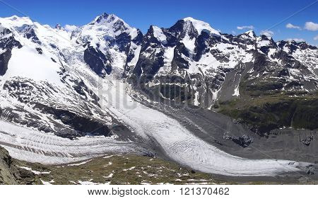 Morteratsch and Pers glaciers from Munt Pers 3207m.