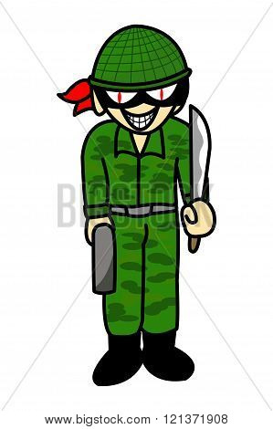 art green military man thief cartoon illustration