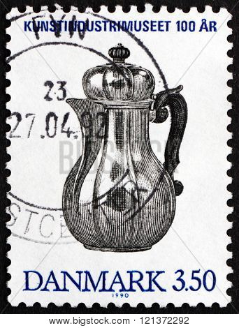 Postage Stamp Denmark 1990 Silver Coffee Pot