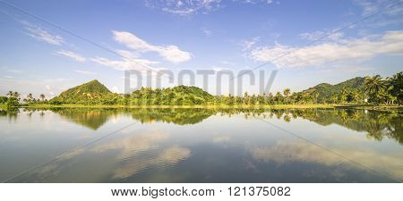 Mountain and clear skies with reflection on lake