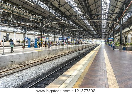 KUALA LUMPUR MALAYSIA - JANUARY 10 2016:  Kuala Lumpur Central Station interior view. It was opened in 1995 owned by Keretapi Tanah Melayu (KTM).