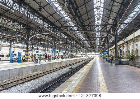 KUALA LUMPUR MALAYSIA - JANUARY 10 2016:  Kuala Lumpur Central Station interior view. It was opened in 1995 owned by Keretapi Tanah Melayu (KTM).?