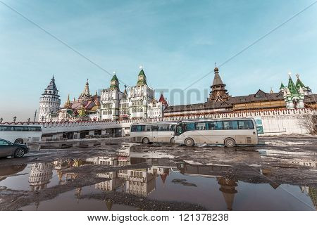 Moscow, Russia - March 11, 2016: New efficient fantasy Kremlin in Izmailovo, district of Moscow.