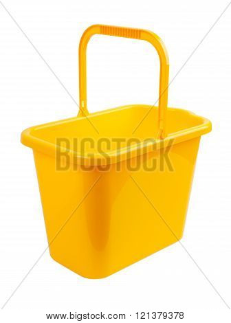 Yellow Bucket On A White Background