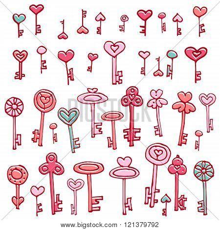 Keys of hearts. Hand-drawing set of doodle keys. Easy to edit and recolor.