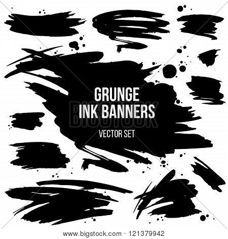 Vector Set Of Black Grunge Spots
