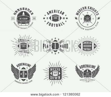 Set of vintage rugby and american football labels emblems and logo. Vector illustration