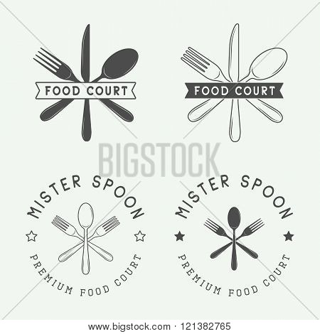 Set of vintage restaurant or food court logo badge and emblem in retro style. Vector Illustration