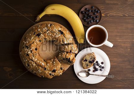 Banana Cake With Blueberries And Cereal