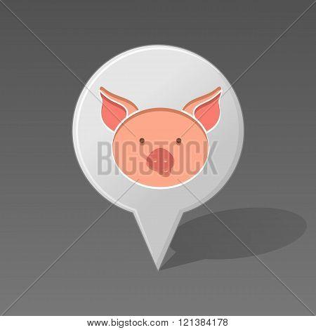 Pig Pin Map Icon. Animal Head Vector Illustration