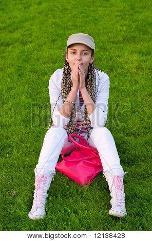 Beauty Girl On Grass