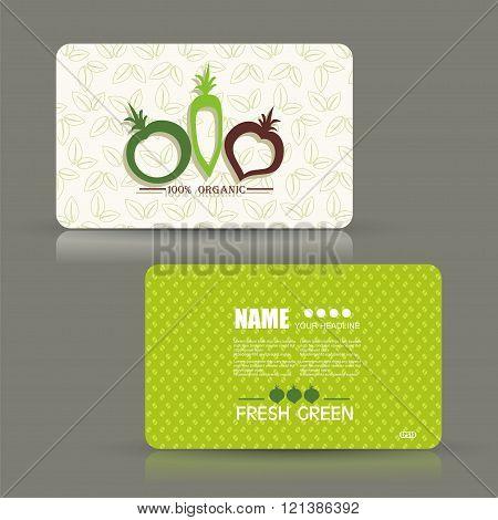 Card set eco design organic foods shop or vegan cafe business card with vegetables and fruits doodle background.