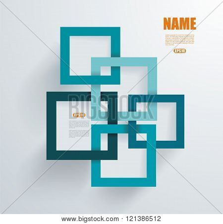 3D Square geometric element on blue paper frames vector texture pattern with shadow.